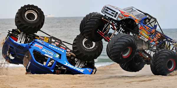 Bigfoot - Dan Runte - Steve Sims - Stone Crusher - Monsters On The Beach 2012